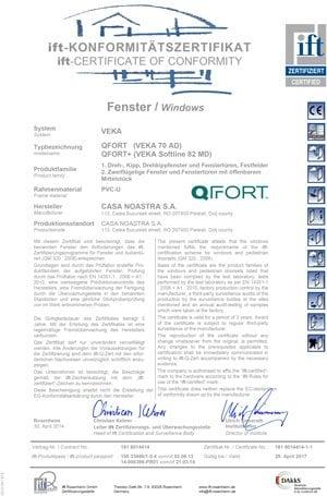QFort - Certificat de conformitate ferestre
