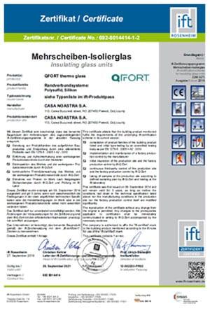 QFort - Certificat de conformitate sticla